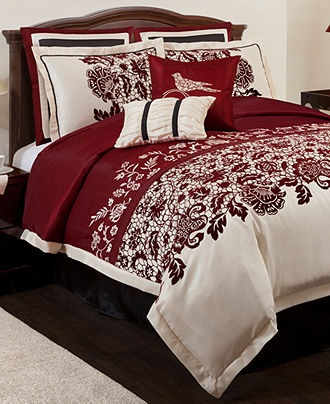 Estate garden 8 piece comforter sets bed in a bag master bedroom red cream black home Master bedroom with red bedding