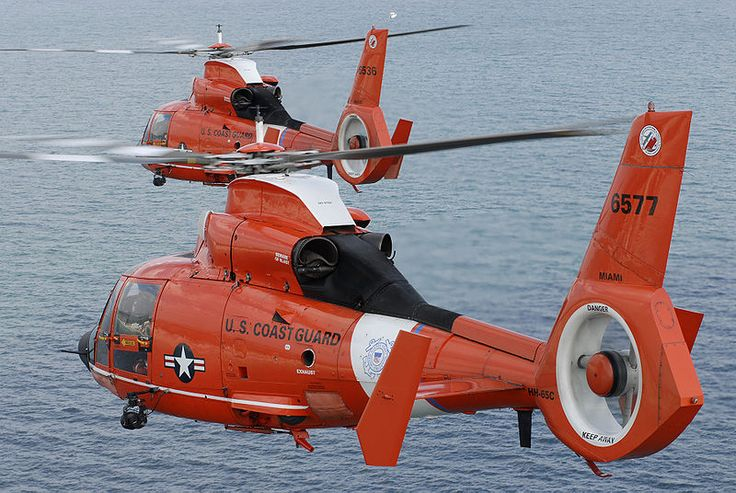 Two coast guard HH-65C Dolphin helicopters....Love hearing the whir of the helicopters over the bay