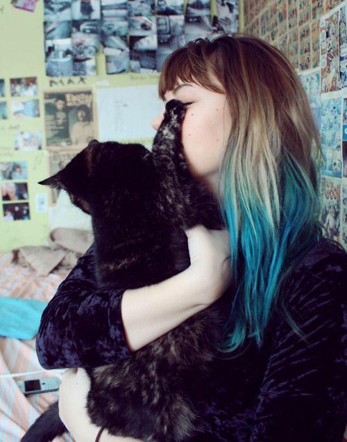 Blue + brown hair