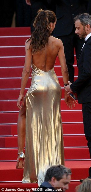69th CANNES FILM FESTIVAL IZABEL GOULART. Her toned legs weer visible thanks to the extreme thigh split...