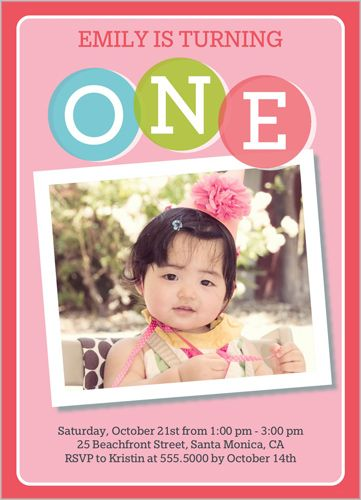 Best Baby Girls St Birthday Invitations Images On Pinterest - Birthday invitation 1 year old baby girl