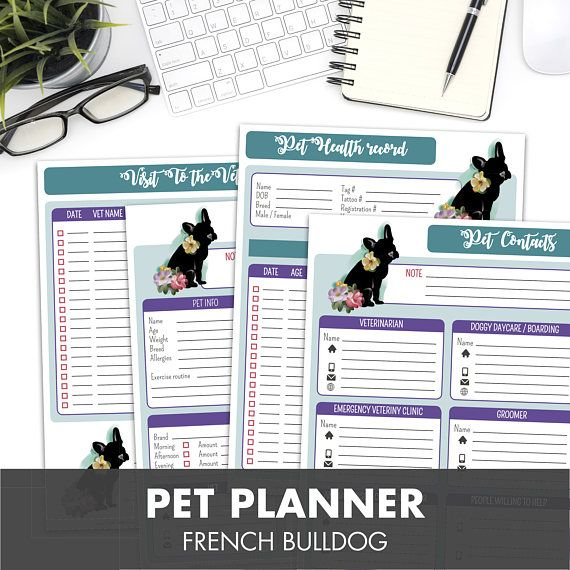 Pet Care Package Printables With French Bulldog Design Colorful Florals Pet Contacts Pet Sitter Notes Visit To The Vet Pet Health Record Pet Care Pet Health Pets