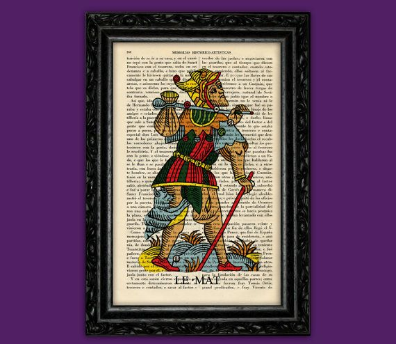 Tarot Marseille The Fool Art Print -  Esoteric Poster Book Art Dorm Room Print Gift tarot cards Wall  Poster Dictionary