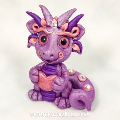 Polymer Clay Dragon - Cake Toppers, Jewelry Pendants, Ornaments, Figurines, Characters, Sculptures, Miniatures - Cute Collectible Whimsical - Kimmie's Clay Kreations