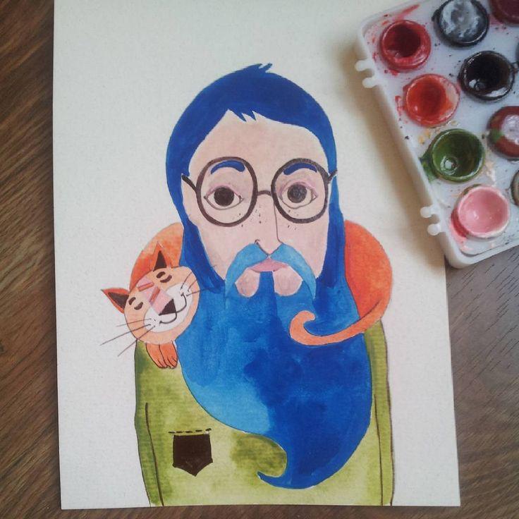 #watercolor #martonszimona #manwithbeard #bluebeard # #manwithcat #handdrawn #illustration #cutecat #redcat #manwithglasses #jonlennon #catlove #greenshirt #chill #animallove #bookillustrator #childrenbookillustration