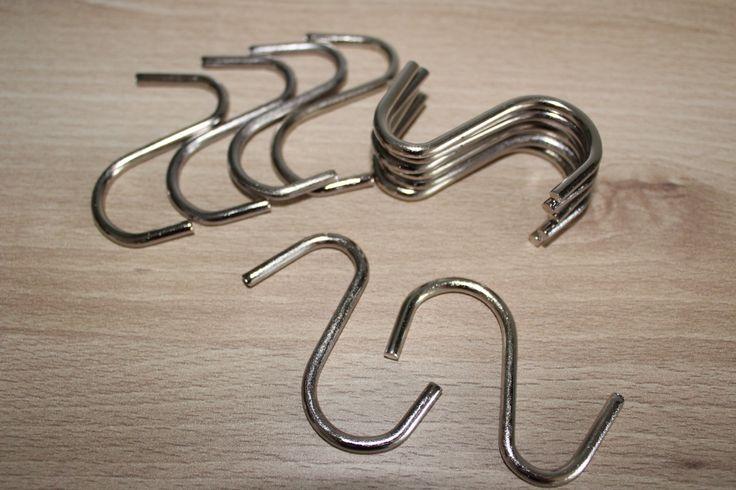 12er Set Dekohaken S-Haken Metallhaken verchromt Bastelzubehör Höhe 5cm