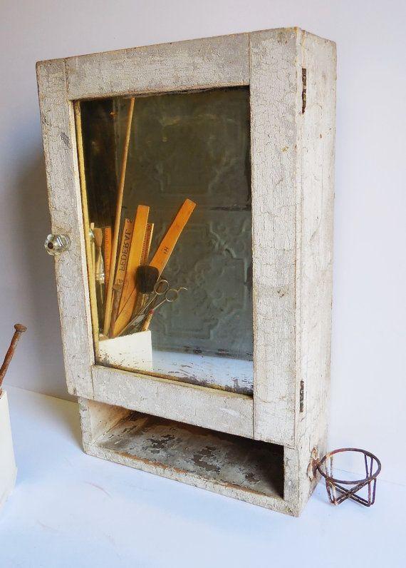 Vintage medicine cabinet wood cupboard w/ cup holder  Mirror