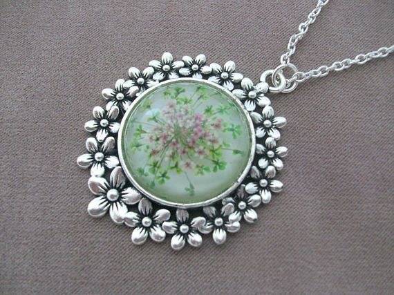Flower Wreath Pendant with Real Wild Carrot Flowers