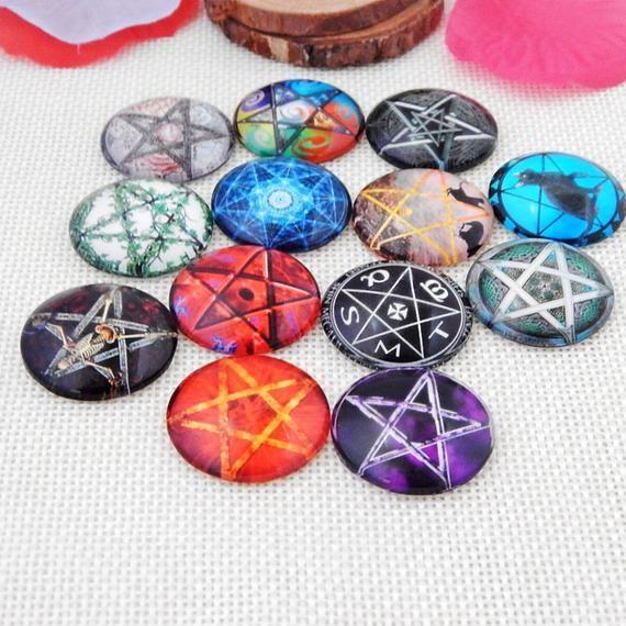 40mm Purple Pentacle Witch Glass Eyes Cabochon Set Pentagram Art Doll Parts
