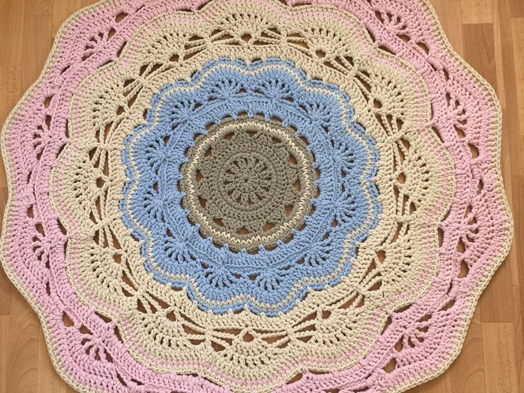 Doily round rug, 47''(120 cm)/Rugs/Rug/Area Rugs/Floor Rugs/Large Rugs/Handmade Rug/Carpet/Cotton Rug by AnuszkaDesign on Etsy