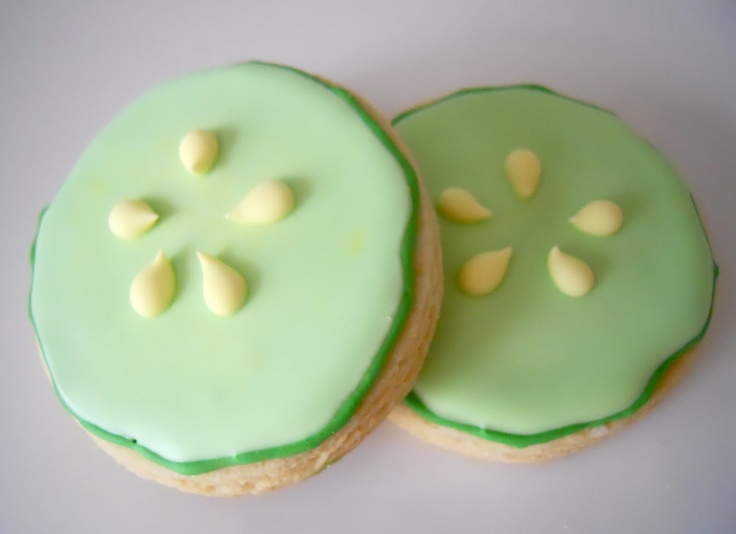 Cooling Cucumber Slice Cookies to put in Salon/Spa Party Favor Bags