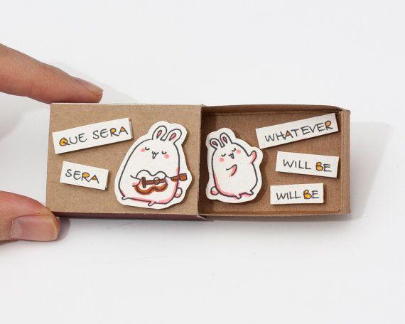 """Lindas tarjetas de ánimo de diversión """"Que Sera"""" Matchbox / caja de regalo / caja del mensaje / OT054"""