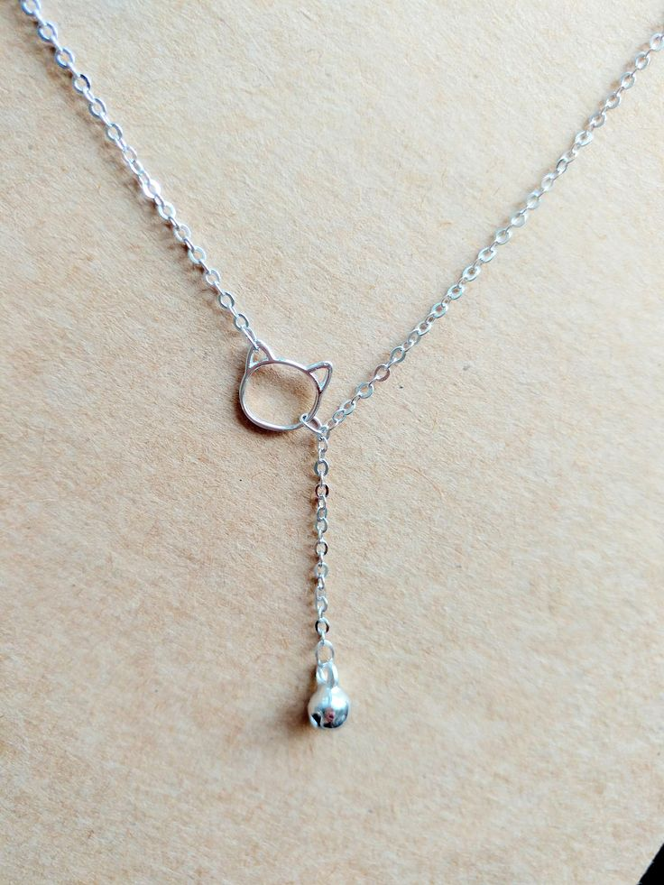 925 Sterling Silver Cat with Bell Charm Necklace by ThoughtsAccessories on Etsy