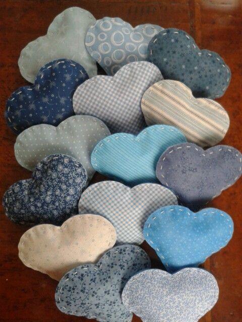 Cuori alla lavanda - tonalità azzuro/blu