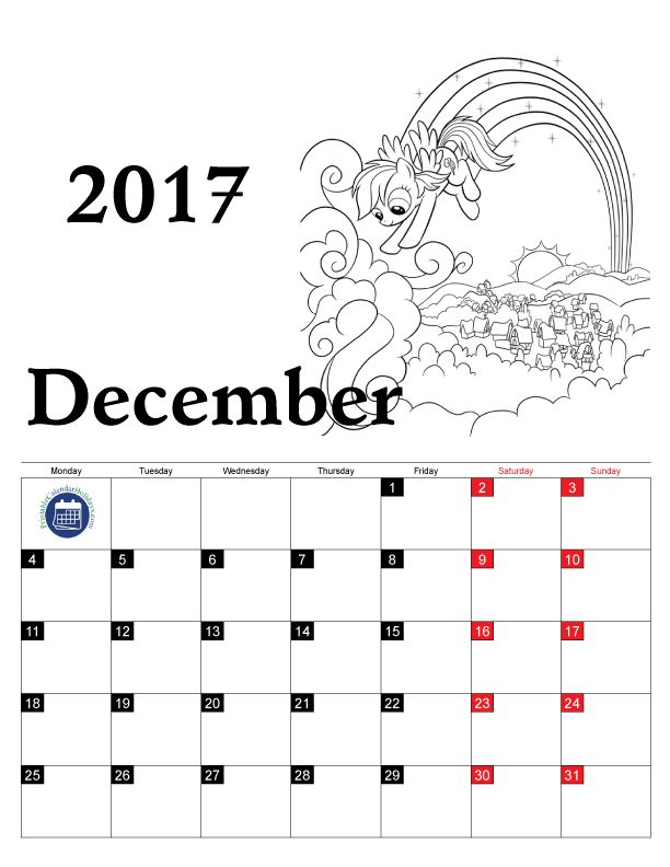color printable 2017 calendar for kids provides a simple low prep way to do this - December Coloring Pages Printable