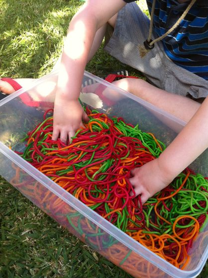 Want toput together a fun,messy, sensory playactivity for your kids for less thana dollar?This sensory tub costme 59 cents! Seriously! Read on….. Last week, R (3) was looking over my …