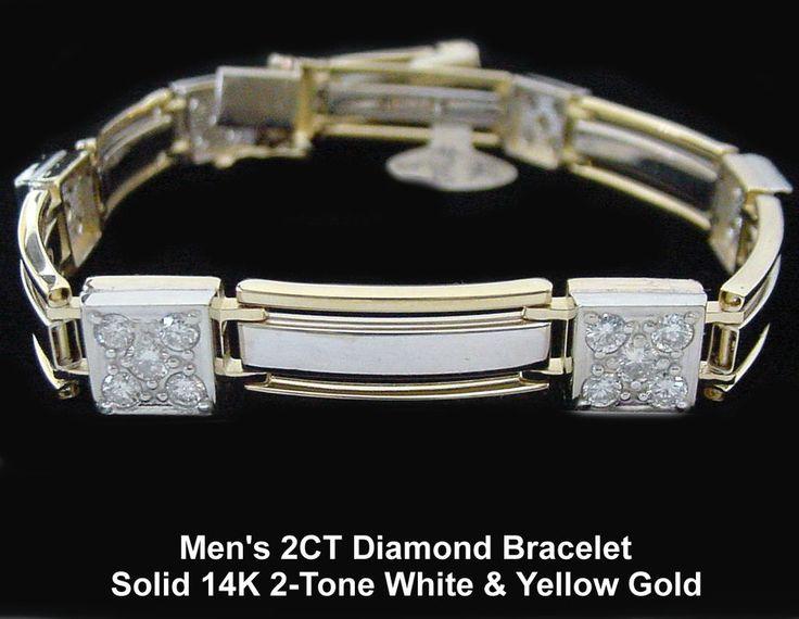 "2 CT Mens Diamond Bracelet in 14K 2-Tone Yellow & White Gold, 8.25"" Long, NEW #DiamondLink"