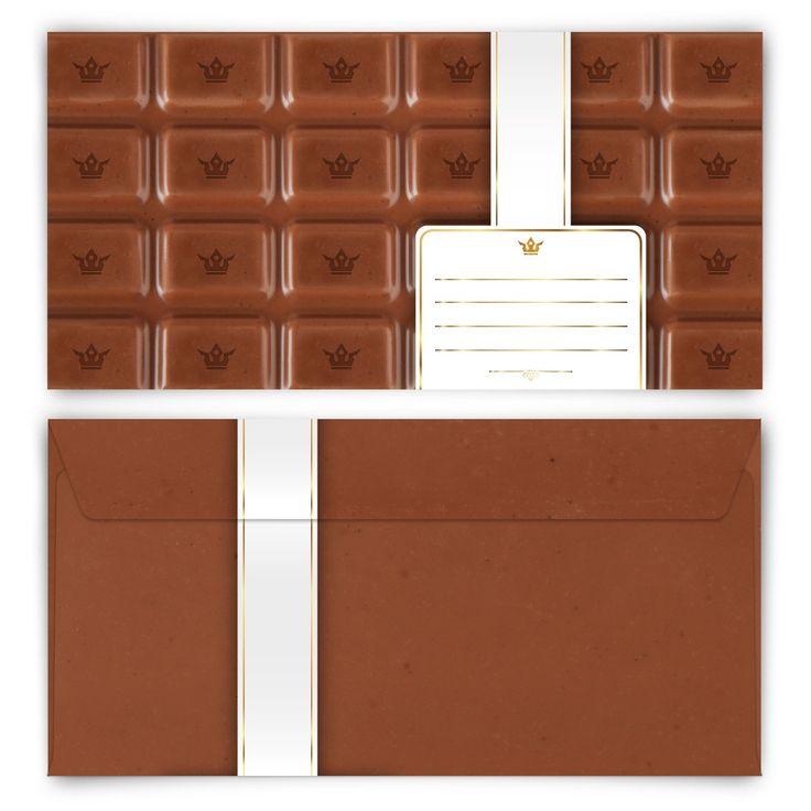 Für alle Leckermäuler! (Briefumschlag, DIN C6 quer) #briefumschlag #papeterie #kreativ #schokolade #schoki #einladung