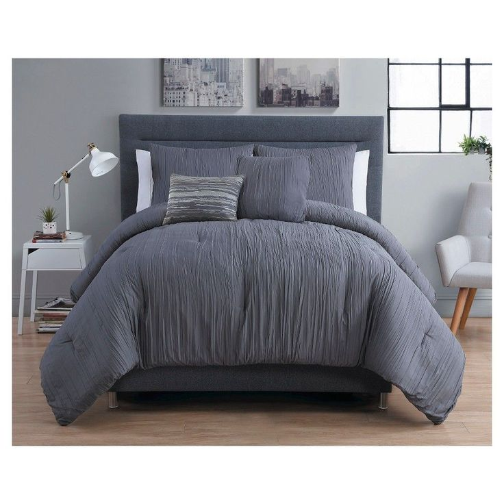 crinkle comforter king gray 5 piece vcny grey