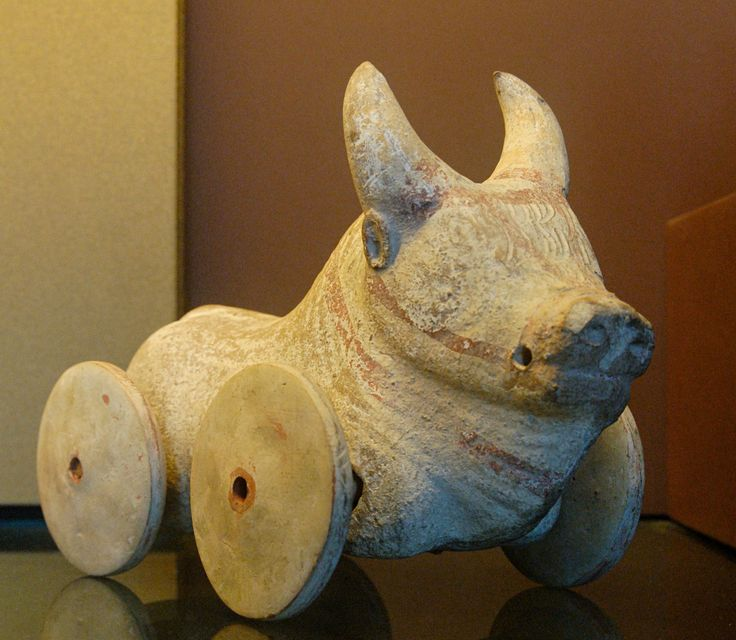ancient toy buffalo on wheels, Magna Graecia