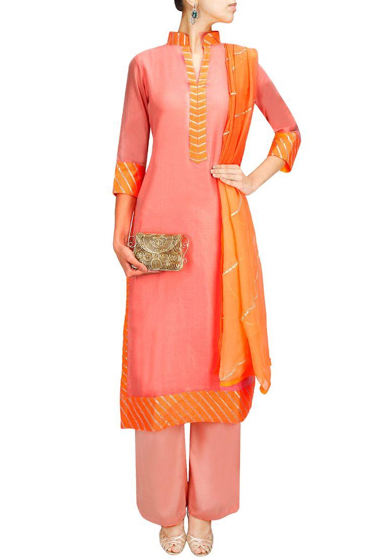 Peach and orange gota embroidered pakistani style kurta with mul pants BY SILK TREE.