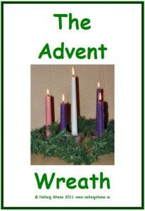 Flashcards with vocabulary about the Advent Wreath