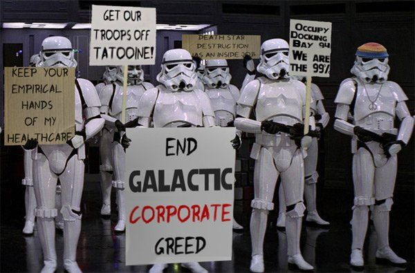Stormtroopers Support the 99%: Death Star, Stuff, Stars, Star Wars, Funny, Stormtroopers, Occupy, Starwars