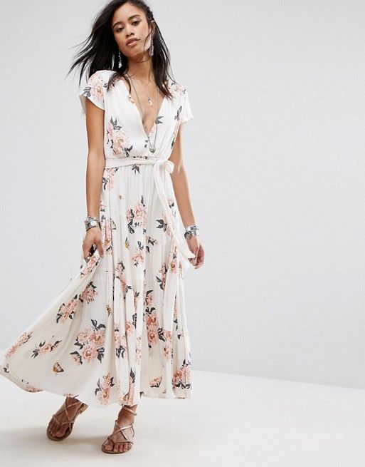 Free People All I Got Printed Maxi Dress in white at asos