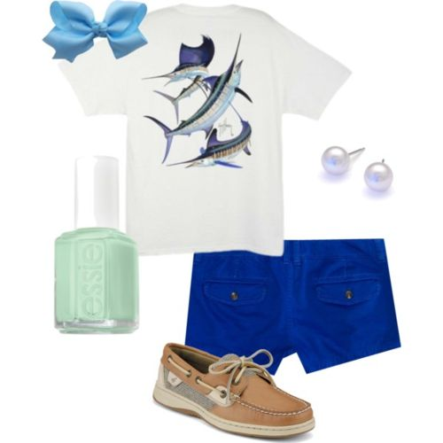 OH now this is ME! real ME! (without the bow)  I wear salt life, i have every color of the AE shorts, and the shoes with my pearls lol