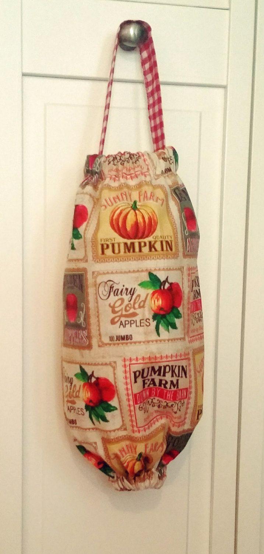 cute plastic bag holder, plastic bag holder cloth, grocery bag holder, cute grocery bag holder, grocery bag dispenser, fabric bag holder by KittyandSpunky on Etsy