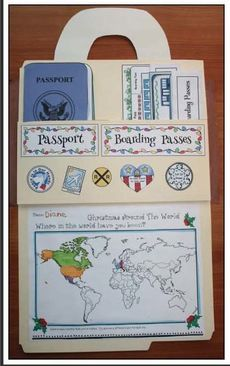 Geography & Travel Activities: Cute interactive file folder suitcase or briefcase. Holds students' work.