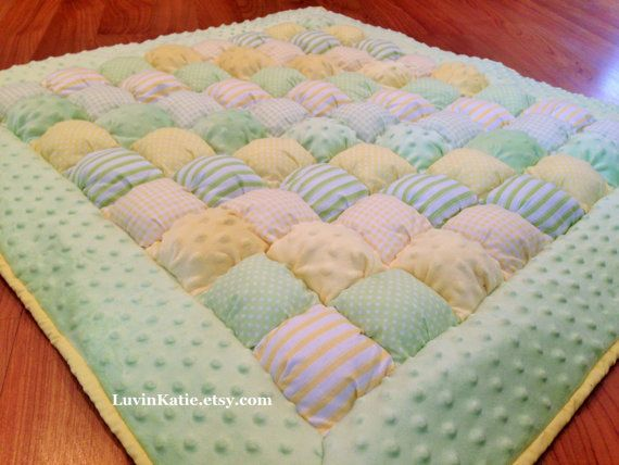 Baby Bubble Quilt Puff Quilt for Floor Time Tummy Time  PASTEL YELLOW GREEN