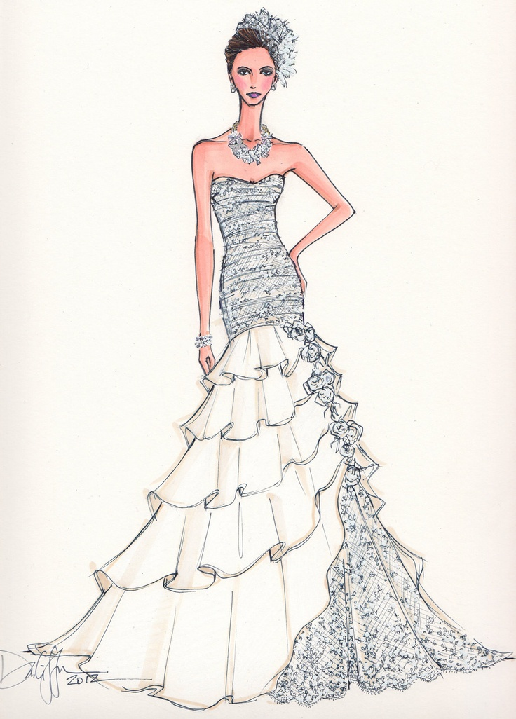 10478 best images about bocetos de moda on pinterest Wedding dress illustration