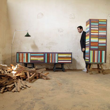 Brazilian designer Brunno Jahara of Jahara Studio has created a collection of furniture made using scrap wood. Called Neorustica, discarded strips of wood have been painted in bright colours and joined together to form cabinets.    (via Neorustica by Jahara Studio - Dezeen)