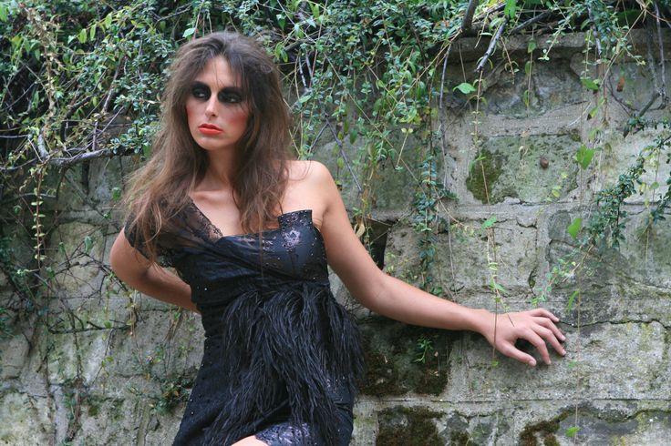 Création Anna BARBERA PARIS avec le CRÊPE DE SOIE 799 noir.