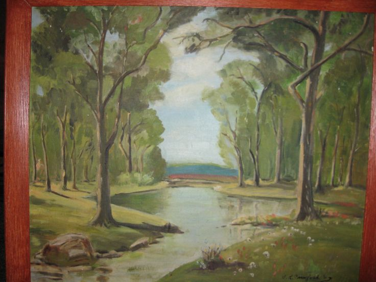 """ORIGINAL PAINTING ON Canvas Board Signed By S.L. Crawford 70 In Rust Color Wood Frame 26 1/2"""" x 22 1/2"""" Copy Of Robert Wood Four Seasons by framedvintageart on Etsy"""