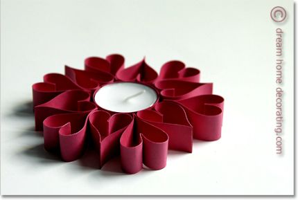 Quilled(-ish) Heart Candle Holder. Could use with small battery tea lite.