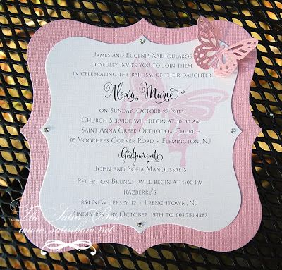 Butterfly Baptism Christening Invitation Invite - Die Cut diecut in pale pink and white with 3-D butterfly - Perfect for birthday or shower as well - by The Satin Bow