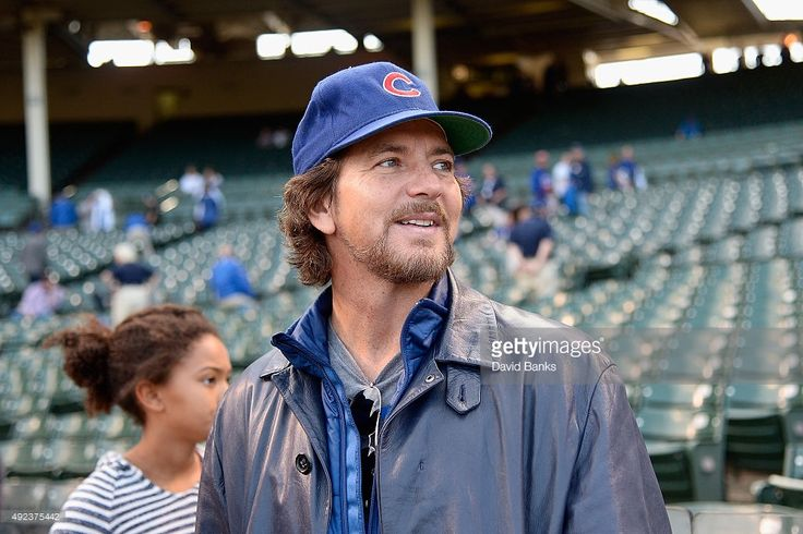 Musician Eddie Vedder watches batting practice prior to game three of the National League Division Series between the Chicago Cubs and the St. Louis Cardinals at Wrigley Field on October 12, 2015 in Chicago, Illinois.