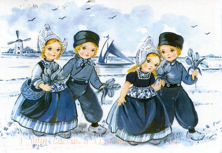 Dutch Children in Delft Blue