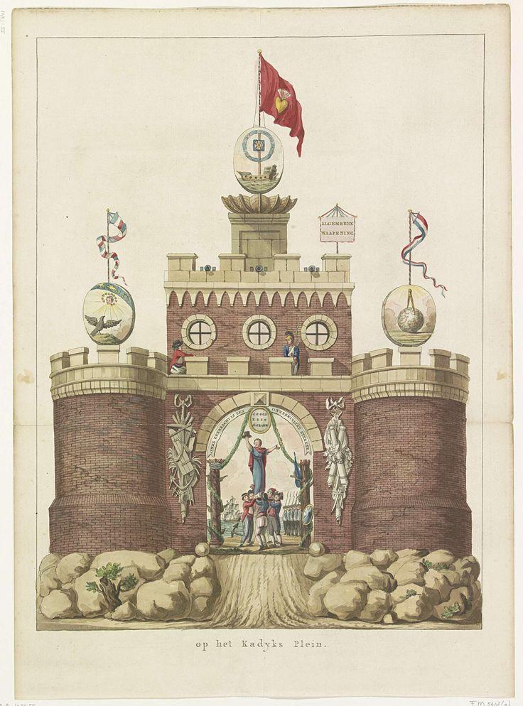 Anonymous   Algemene Wapening, decoratie op het Kadijksplein, 1795, Anonymous, Jan Bulthuis, Abraham van der Hart, 1795   De Algemene Wapening, allegorische decoratie opgericht op het Kadijksplein te Amsterdam bij het Alliantiefeest op 19 juni 1795. Middeleeuwse burcht staande op rotsen, op de torens symbolen van de astronomie, hydrografie en geometrie, Op het chassinet in de onderdoorgang wordt de Vrijheid door Bataafse en Franse matrozen op een schild gehezen.