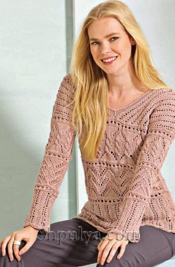 Пуловер с сочетанием узоров и V-образным вырезом горловины