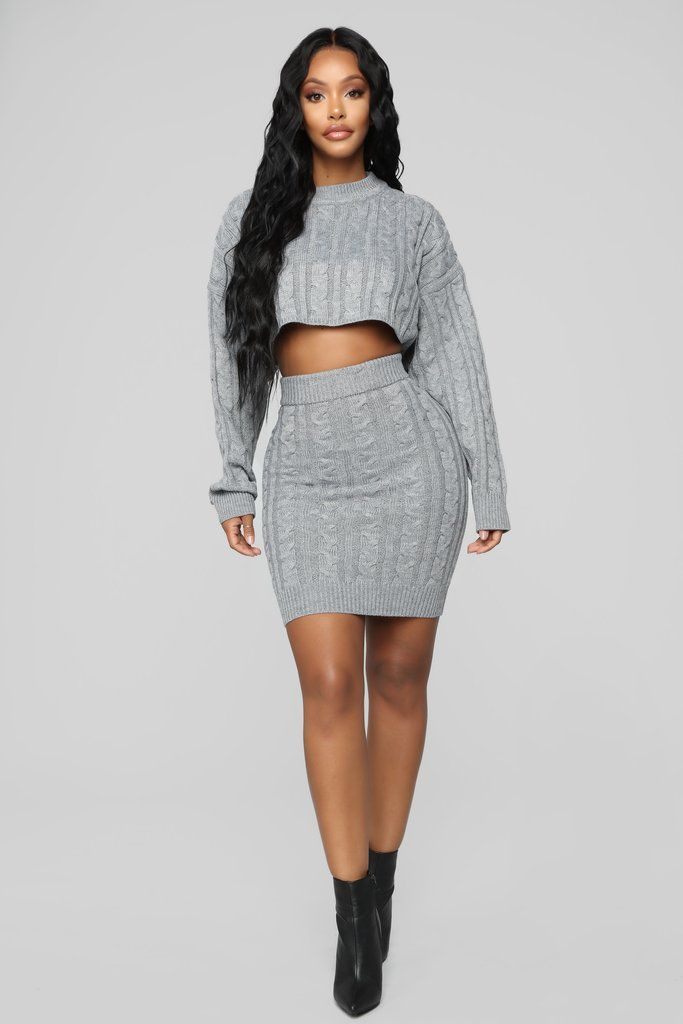 7ed85081dba2 Santee Sweater Set - Heather Grey in 2019 | Fashion Nova | Matching ...