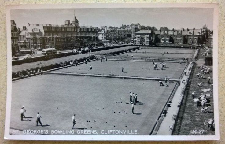 Real Photo Postcard St George s Bowling Greens, Cliftonville near Margate Kent