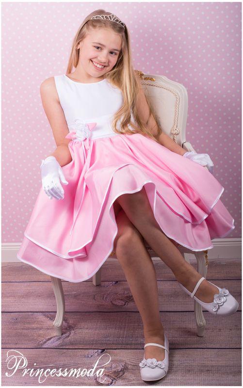 nina wundersch nes kleid in wei rosa princessmoda. Black Bedroom Furniture Sets. Home Design Ideas