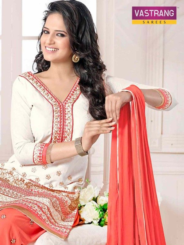 White and peach salwaar kameez suit