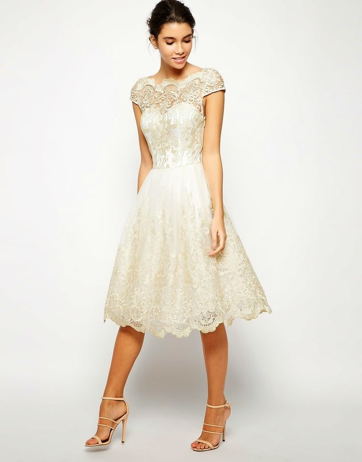 Modest short sleeve lace cream dress | Follow Mode-sty for stylish #modest clothing www.mode-sty.com #sleevesplease #nolayering