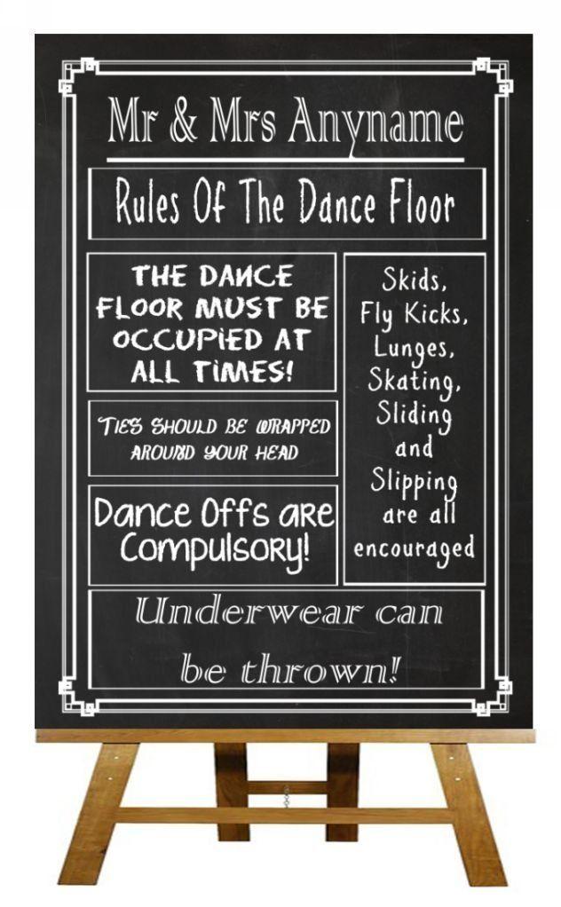 A3 Vintage Chalkboard Rules Of The Dancefloor Personalised ...