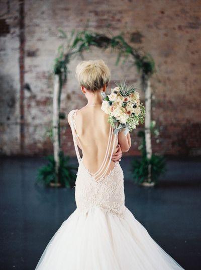 Low-back wedding dress: http://www.stylemepretty.com/little-black-book-blog/2014/06/17/bubble-wedding-inspiration/ | Photography: Melissa Kruse - http://www.melissakruse.com/