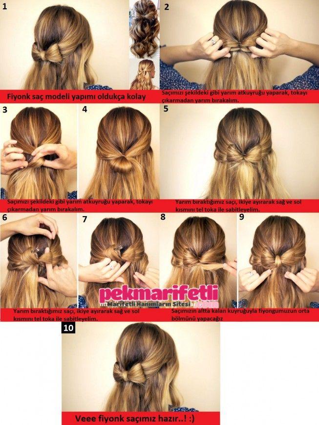 Yarım fiyonk saç modeli yapımı resimli anlatımlı
